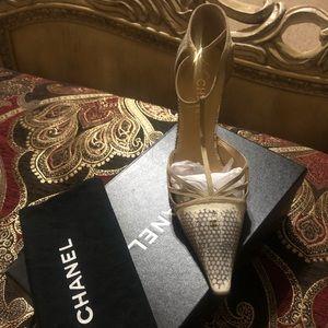 Authentic Chanel animal print embossed heel